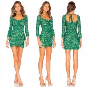 h:ours Revolve Francin Emerald Lace Dress Medium